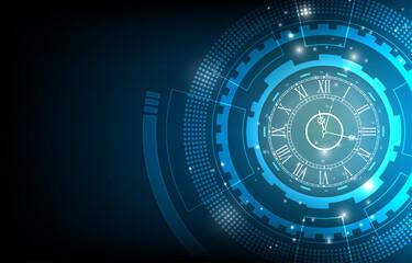 Obraz Abstract technology clock vector background - fototapety do salonu