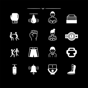 set of boxing graphic design vector icons collection of symbol, logo, pictogram linear flat simple ui stroke sign hand drawn lined graphic design