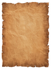 old parchment paper sheet vintage aged or texture isolated on white background