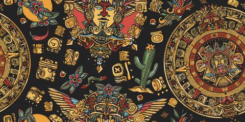 Aztec sun stone, golden totem and mayan glyphs seamless pattern. Ancient Maya Civilization background. Mexican mesoamerican culture - fototapety na wymiar