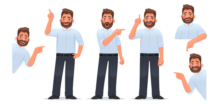 Set of a man character pointing his finger in different directions, up and down and looking out