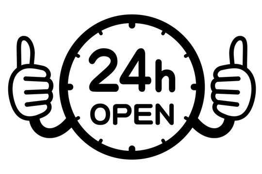 24時間営業のPOPイラスト(24h OPEN)