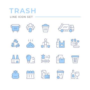 Set color line icons of trash