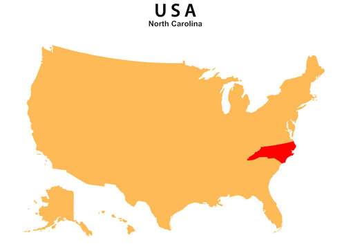 North Carolina State map highlighted on USA map. North Carolina map on United state of America.