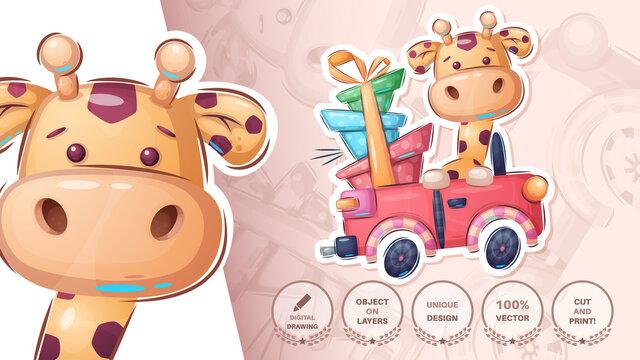 Giraffe in the car - cte sticker