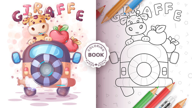 Giraffe travel in the car - coloring page
