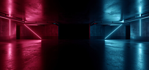 Neon Warehouse Sci Fi Futuristic Laser Purple Blue Glowing Vibrant Electric Concrete Cement Underground Showroom Tunnel Corridor Parking Grunge Asphalt 3D Rendering