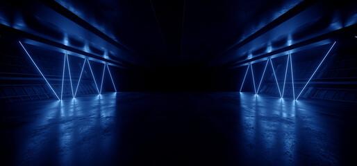 Neon Warehouse Laser Blue Glowing Vibrant Electric Concrete Cement Underground Showroom Tunnel Corridor Parking Grunge Asphalt 3D Rendering