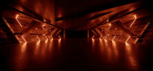 Neon Warehouse Sci Fi Futuristic Laser Orange Glowing Vibrant Electric Concrete Cement Underground Showroom Tunnel Corridor Parking Grunge Asphalt 3D Rendering