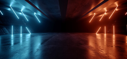 Neon Warehouse Sci Fi Futuristic Laser Orange Blue Glowing Vibrant Electric Concrete Cement Underground Showroom Tunnel Corridor Parking Grunge Asphalt 3D Rendering
