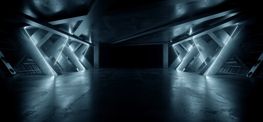 Neon Warehouse Sci Fi Futuristic Laser White Blue Glowing Vibrant Electric Concrete Cement Underground Showroom Tunnel Corridor Parking Grunge Asphalt 3D Rendering