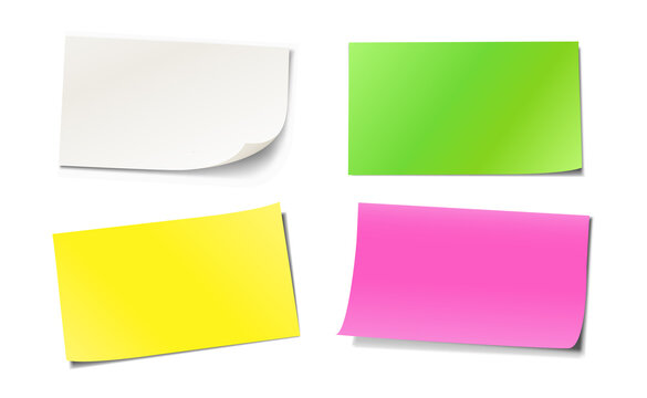 Set of colored blank sticky notes paper with different paper curls