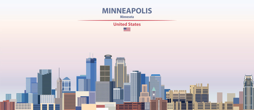 Minneapolis cityscape on sunset sky background vector illustration with country and city name and with flag of United States