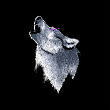 Wolf Illustration Abstract Outline Vector Design