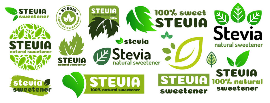 Stevia leaves symbol vector set. Natural organic stevia sweetener substitute isolated on white background. Eco icon for label, poster, badge, packaging design. Vector 10 eps