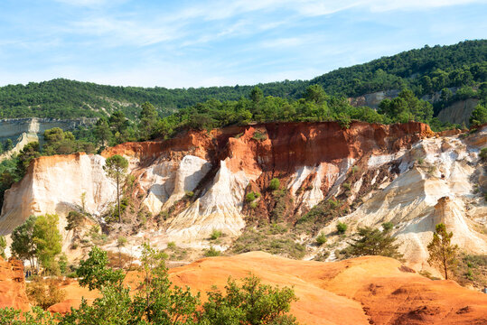 Ochre rocks path in Roussillon, Natural Regional Park of Louberon, southern France.
