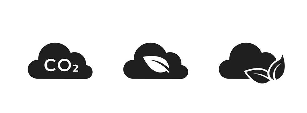 zero emissions icon set. co2 emissions, carbon dioxide pollution. clean air, eco and environment symbol. cloud and leaf