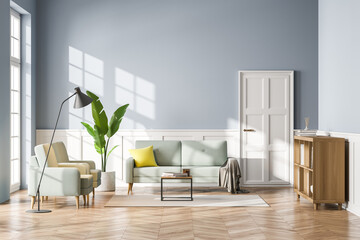 Obraz Living room interior with sofa, bookshelf wooden floor. Concept of cozy meeting reading place. Panoramic window. 3d rendering - fototapety do salonu