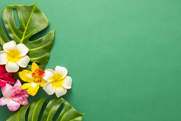 Exotic tropical summer background. Summer beach party concept. Tropical leaves monstera and orchid flowers on green background. Flat lay, copy space.