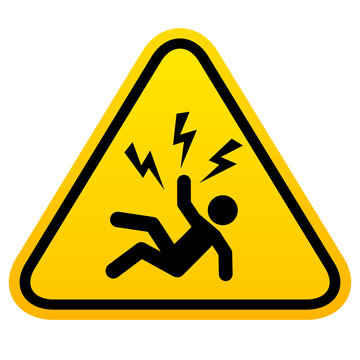 Electrical hazard triangle warning sign