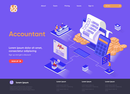 Accountant isometric landing page. Business accounting and financial statements, payment balance and taxes isometry web page. Website flat template, vector illustration with people characters.