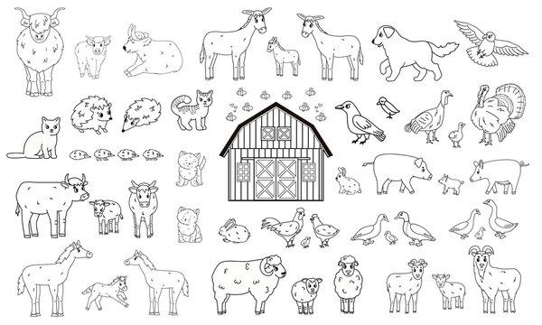 Set of outline cartoon farm animals. Vector collection of wooden barn, donkey goose cow bull pig hog chicken hen rooster goat sheep duck horse turkey cat dog hedgehog rabbit bunny birds