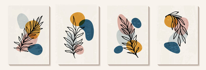 Fototapeta Botanical wall art vector set. Tropical Foliage line art drawing with abstract shape. Abstract Plant Art design for print, cover, wallpaper, Minimal and natural wall art decoration, poster, brochure. obraz