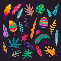 Fototapeta Mexican style leaves and plants, vector traditional floral ornament of Mexico. Colorful foliages of exotic tropical plants and trees with folk or ethnic geometric pattern of bright dots and stripes obraz