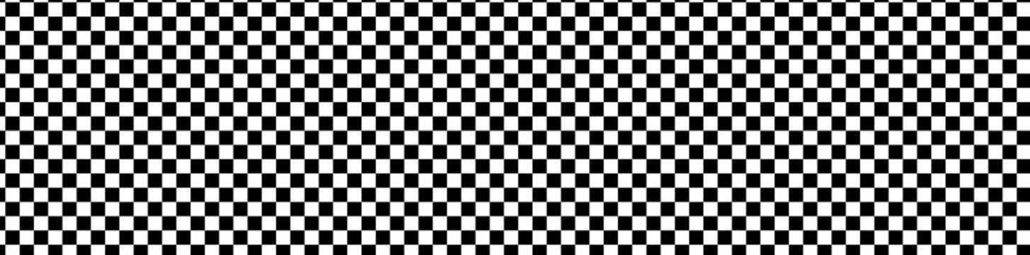 Wide format checkered patteren, background. Chequered backdrop. Chessboard, checkerboard texture