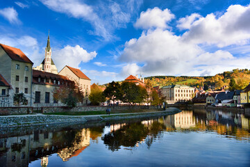 The panoramic views of Cesky Krumlov, Czech Republic, on an autumn afternoon, the old town in europe and the world heritage site is famous and popular with tourists.