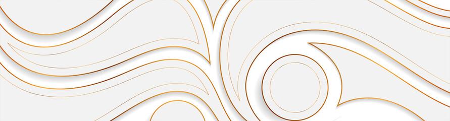 Fototapeta Grey and golden wavy pattern abstract background. Vector luxury banner design obraz