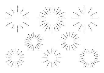 Obraz サンバースト 見出し フレーム 集中線 太陽線 放射線 アイコンセット - fototapety do salonu