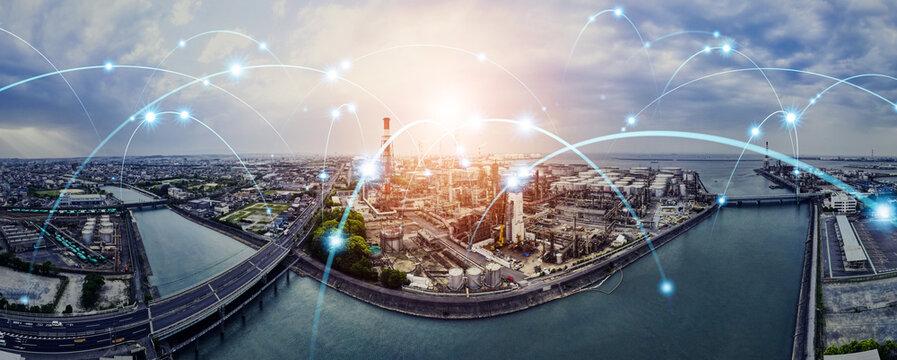 産業ネットワーク 工業地帯と通信イメージ