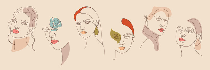 Fototapeta Set of Woman face continuous line drawing abstract minimalistic style. Continuous line art in elegant style for prints, wall decor, tattoos. Beautiful  WomenLine art vector obraz