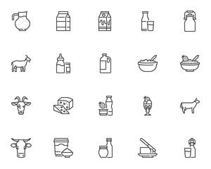 Fototapeta Dairy products line icons set obraz