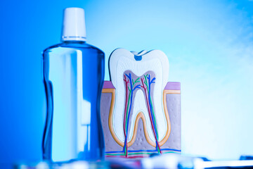 Dental tools and equipment background Wall mural