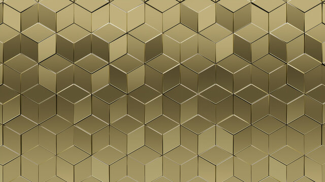 Polished, Glossy Mosaic Tiles arranged in the shape of a wall. 3D, Diamond shaped, Bullion stacked to create a Gold block background. 3D Render