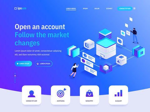 Vector landing page of Open an account Follow the market changes isometric concept. Investment, online banking, financial tools, bank transaction. Illustration of advertising banner in isometry design