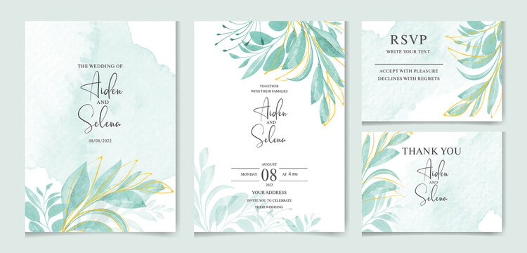 set of watercolor wedding invitation card templates. With beautiful green leaves botanic illustration for card composition design.