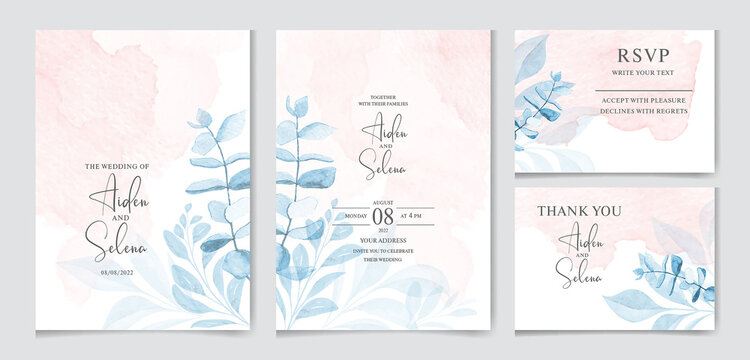set of watercolor wedding invitation card templates. With beautiful leaves botanic illustration for card composition design.