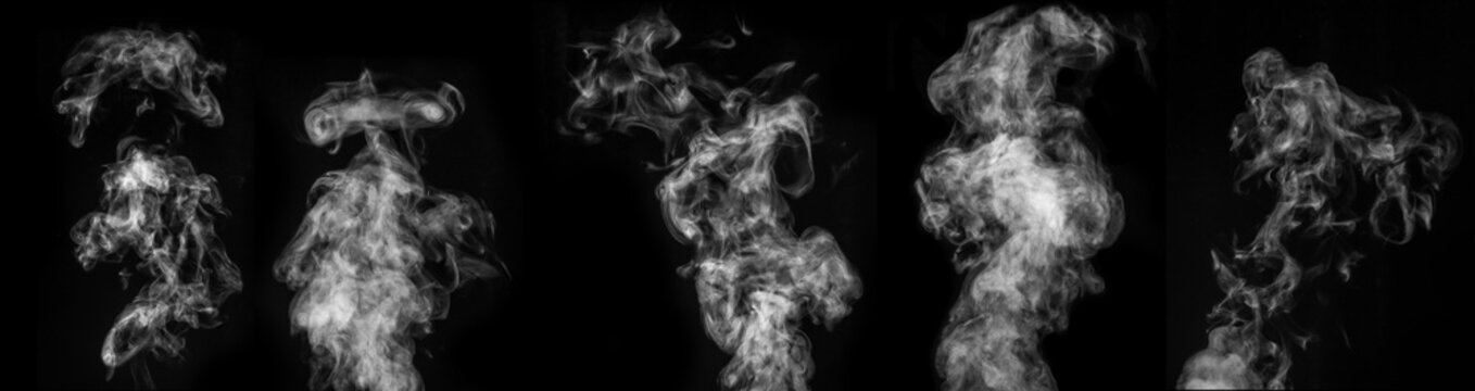 A perfect set of five different mystical curly white steam or smoke on a black background.