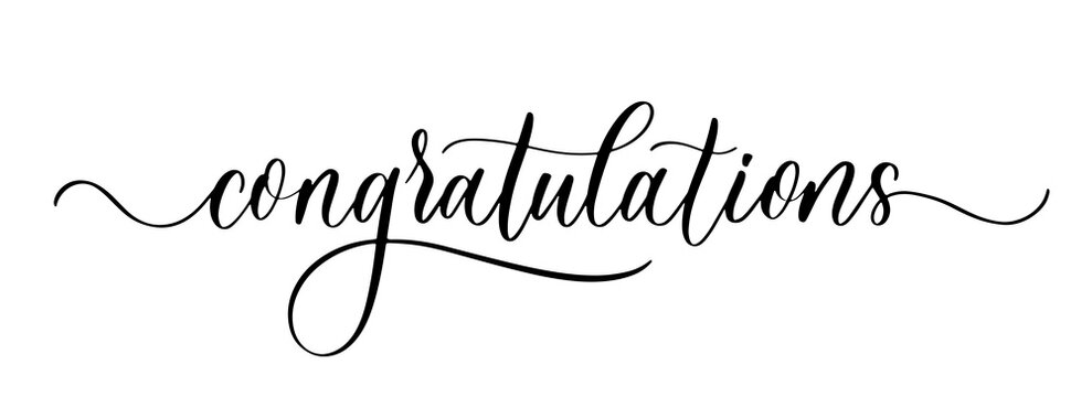 Congratulations. Wavy elegant calligraphy spelling for decoration on holidays.