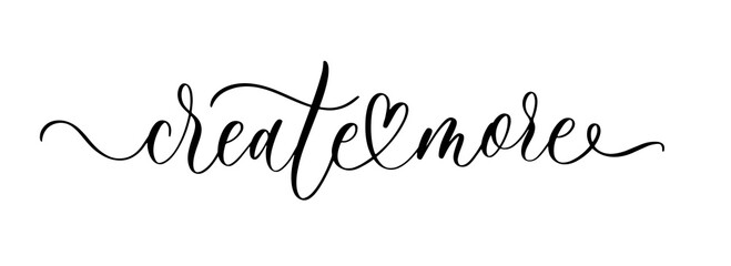 Create more. Wavy elegant calligraphy spelling for decoration