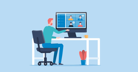 Fototapeta flat vector people online video conference for meeting with remote technology working and people work from home and business smart working online connect anywhere concept obraz