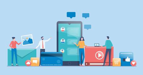Fototapeta flat vector design social media marketing strategy concept with developer team working concept obraz