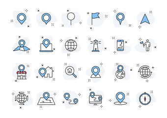 Wall Mural - Set of 24 Globe and earth planet web icons in line style. Navigational Equipment, Planet Earth, Airplane, Map. Vector illustration.
