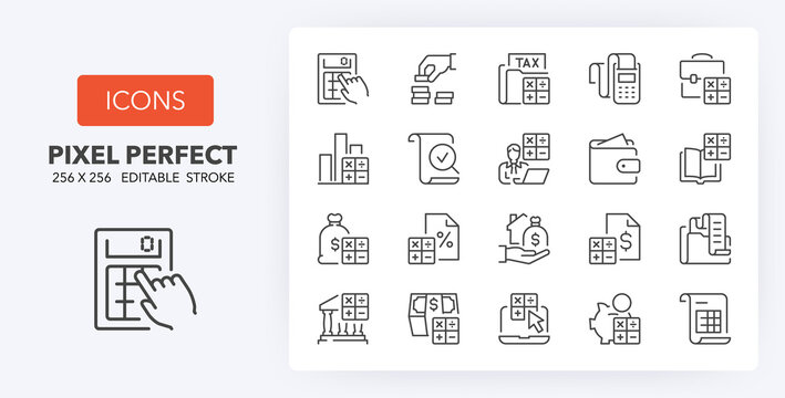 accounting line icons 256 x 256