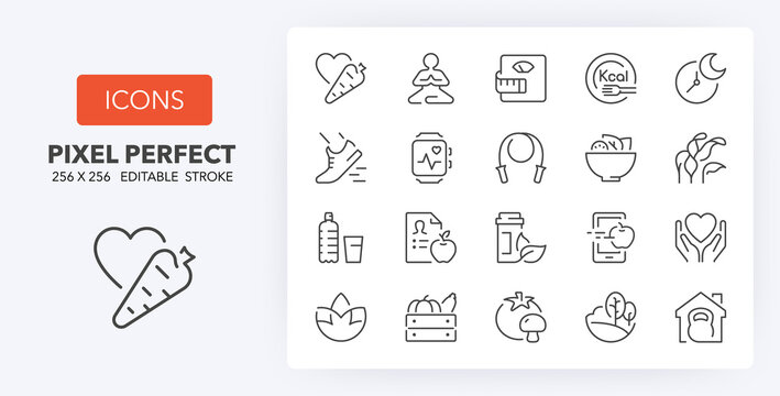 healthy lifestyle line icons 256 x 256
