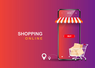 Trolleys full of boxes, parcels, balloons, buttons, shopping icons and smartphone stores floating on the purple background,vector 3d  delivery and shopping online concept design - fototapety na wymiar
