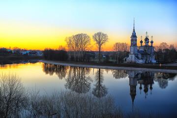 church river panorama vologda, landscape orthodoxy tourism russia